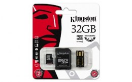 Karta pamięci Kingston microSD 32GB Class 4 + adapter + czytnik USB MBLY4G2/32GB